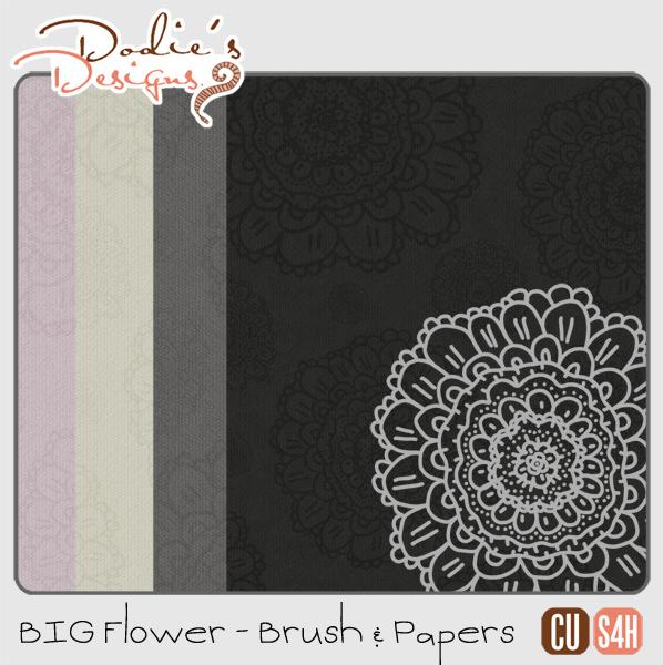 Big Flower Brush & 4 Papers {CU} {S4H} *Freebie*