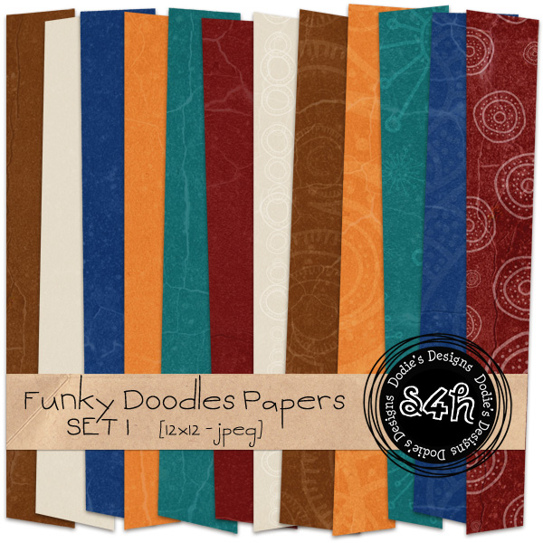 Indian/Paisley Inspired Funky Doodle Papers - {PU} {S4H} - Freebie